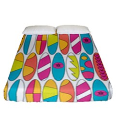 Mini Rainbow Colored Waikiki Surfboards  Fitted Sheet (queen Size) by PodArtist