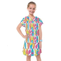 Mini Rainbow Colored Waikiki Surfboards  Kids  Drop Waist Dress by PodArtist