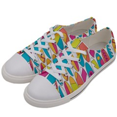 Mini Rainbow Colored Waikiki Surfboards  Women s Low Top Canvas Sneakers by PodArtist