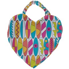 Mini Rainbow Colored Waikiki Surfboards  Giant Heart Shaped Tote by PodArtist