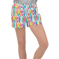 Mini Rainbow Colored Waikiki Surfboards  Women s Velour Lounge Shorts