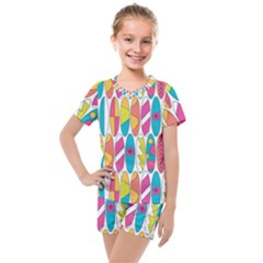 Mini Rainbow Colored Waikiki Surfboards  Kids  Mesh Tee And Shorts Set by PodArtist