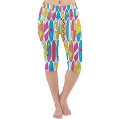 Mini Rainbow Colored Waikiki Surfboards  Lightweight Velour Cropped Yoga Leggings by PodArtist