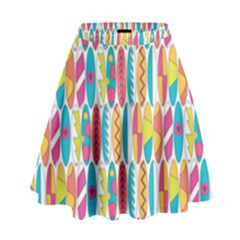 Rainbow Colored Waikiki Surfboards  High Waist Skirt by PodArtist