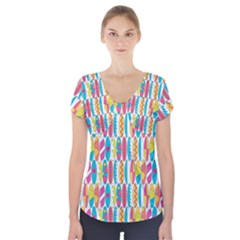 Rainbow Colored Waikiki Surfboards  Short Sleeve Front Detail Top by PodArtist