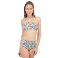 Rainbow Colored Waikiki Surfboards  Cage Up Bikini Set