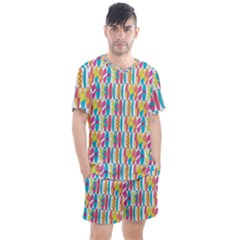 Rainbow Colored Waikiki Surfboards  Men s Mesh Tee And Shorts Set