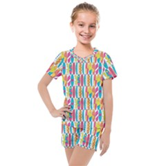 Rainbow Colored Waikiki Surfboards  Kids  Mesh Tee And Shorts Set by PodArtist