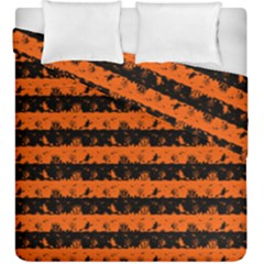 Orange And Black Spooky Halloween Nightmare Stripes Duvet Cover Double Side (king Size)