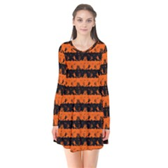 Orange And Black Spooky Halloween Nightmare Stripes Long Sleeve V Neck Flare Dress