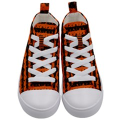 Orange And Black Spooky Halloween Nightmare Stripes Kid s Mid Top Canvas Sneakers