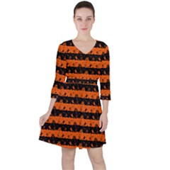 Orange And Black Spooky Halloween Nightmare Stripes Ruffle Dress