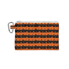Orange And Black Spooky Halloween Nightmare Stripes Canvas Cosmetic Bag (small)