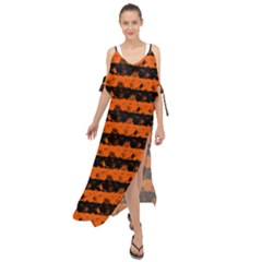 Orange And Black Spooky Halloween Nightmare Stripes Maxi Chiffon Cover Up Dress