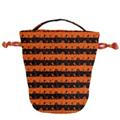 Orange And Black Spooky Halloween Nightmare Stripes Drawstring Bucket Bag by PodArtist