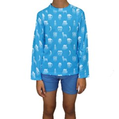 Oktoberfest Bavarian October Beer Festival Motifs In Bavarian Blue Kids  Long Sleeve Swimwear