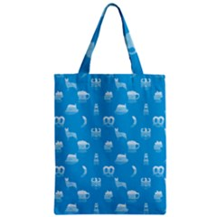 Oktoberfest Bavarian October Beer Festival Motifs In Bavarian Blue Zipper Classic Tote Bag