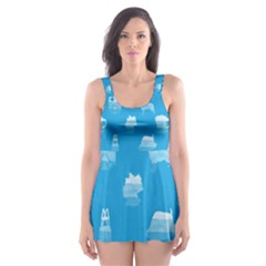 Oktoberfest Bavarian October Beer Festival Motifs In Bavarian Blue Skater Dress Swimsuit