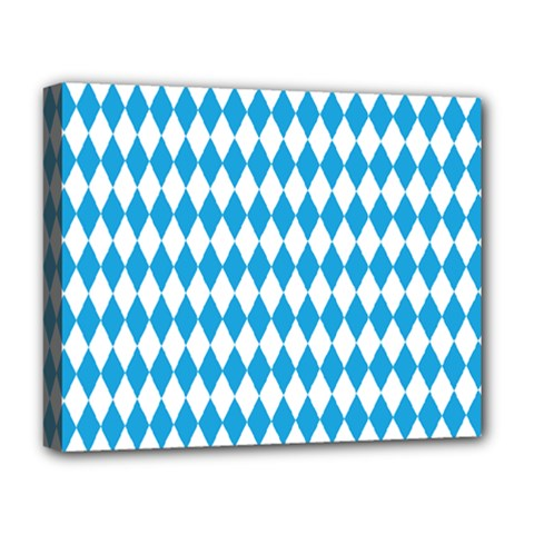 Oktoberfest Bavarian Blue And White Large Diagonal Diamond Pattern Deluxe Canvas 20  X 16  (stretched) by PodArtist
