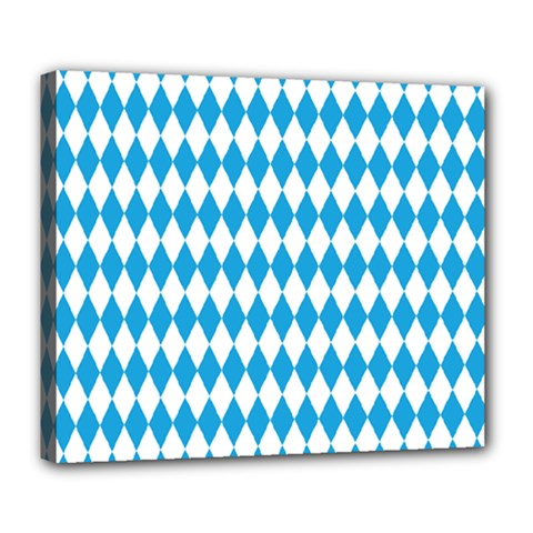 Oktoberfest Bavarian Blue And White Large Diagonal Diamond Pattern Deluxe Canvas 24  X 20  (stretched) by PodArtist