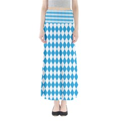 Oktoberfest Bavarian Blue And White Large Diagonal Diamond Pattern Full Length Maxi Skirt
