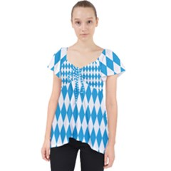 Oktoberfest Bavarian Blue And White Large Diagonal Diamond Pattern Lace Front Dolly Top