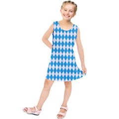 Oktoberfest Bavarian Blue And White Large Diagonal Diamond Pattern Kids  Tunic Dress