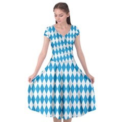 Oktoberfest Bavarian Blue And White Large Diagonal Diamond Pattern Cap Sleeve Wrap Front Dress