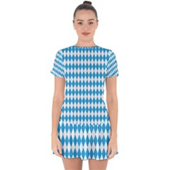 Oktoberfest Bavarian Blue And White Large Diagonal Diamond Pattern Drop Hem Mini Chiffon Dress