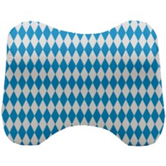 Oktoberfest Bavarian Blue And White Large Diagonal Diamond Pattern Head Support Cushion by PodArtist