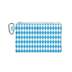 Oktoberfest Bavarian Blue And White Large Diagonal Diamond Pattern Canvas Cosmetic Bag (small)