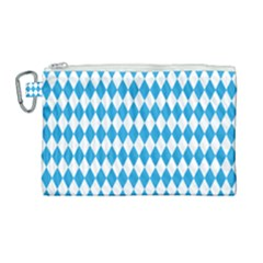 Oktoberfest Bavarian Blue And White Large Diagonal Diamond Pattern Canvas Cosmetic Bag (large) by PodArtist