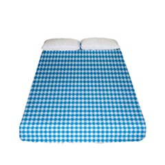 Oktoberfest Bavarian Blue And White Small Diagonal Diamond Pattern Fitted Sheet (full/ Double Size) by PodArtist