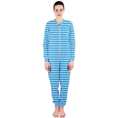 Oktoberfest Bavarian Blue And White Small Diagonal Diamond Pattern Onepiece Jumpsuit (ladies)