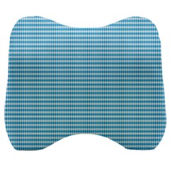Oktoberfest Bavarian Blue And White Small Diagonal Diamond Pattern Velour Head Support Cushion by PodArtist