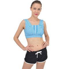 Oktoberfest Bavarian Blue And White Small Diagonal Diamond Pattern V Back Sports Bra
