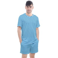 Oktoberfest Bavarian Blue And White Small Diagonal Diamond Pattern Men s Mesh Tee And Shorts Set
