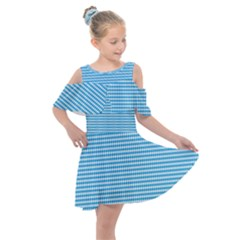 Oktoberfest Bavarian Blue And White Small Diagonal Diamond Pattern Kids  Shoulder Cutout Chiffon Dress