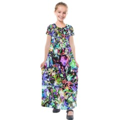 Pastel Liquid Metallic Sparkle Kids  Short Sleeve Maxi Dress