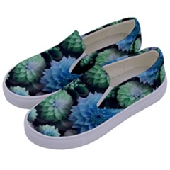 Blue Green Dahlia Collage Kids  Canvas Slip Ons by bloomingvinedesign