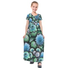 Blue Green Dahlia Collage Kids  Short Sleeve Maxi Dress