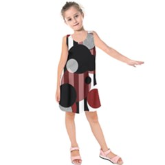 Black White Red Stripes Dots Kids  Sleeveless Dress by bloomingvinedesign