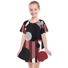 Black White Red Stripes Dots Kids  Smock Dress