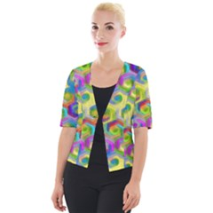 Colorful Hexagons Cropped Button Cardigan