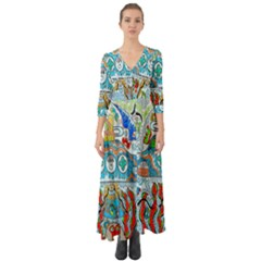 Supersonic Cosmic Submarine Button Up Boho Maxi Dress