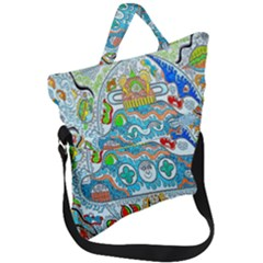 Supersonic Cosmic Submarine Fold Over Handle Tote Bag