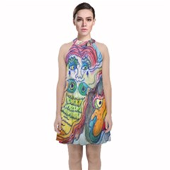 Watercolor Mermaid Velvet Halter Neckline Dress