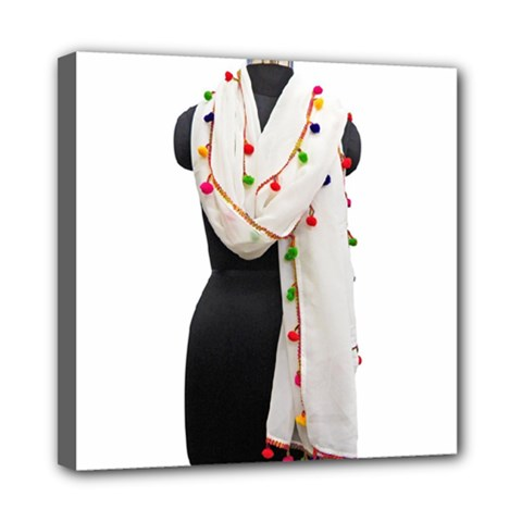 Indiahandycrfats Women Fashion White Dupatta With Multicolour Pompom All Four Sides For Girls/women Mini Canvas 8  X 8  (stretched) by Indianhandycrafts
