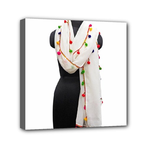 Indiahandycrfats Women Fashion White Dupatta With Multicolour Pompom All Four Sides For Girls/women Mini Canvas 6  X 6  (stretched) by Indianhandycrafts