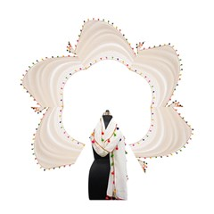 Indiahandycrfats Women Fashion White Dupatta With Multicolour Pompom All Four Sides For Girls/women Mini Folding Umbrellas by Indianhandycrafts